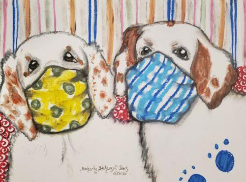 Clumber Spaniel in Quarantine Art Print 4x6 Dog Collectible Signed Artist KSams