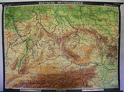 Schulwandkarte Wandkarte 216x161 Deutsche Mittelgebirge Harz Erzgebirge 1964 map