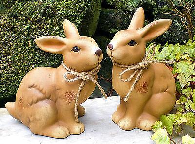 ❀ Kaninchen Paar Hasen Osterhase 20cm Hell Braun Hase Keramik Lebensecht #280 ()