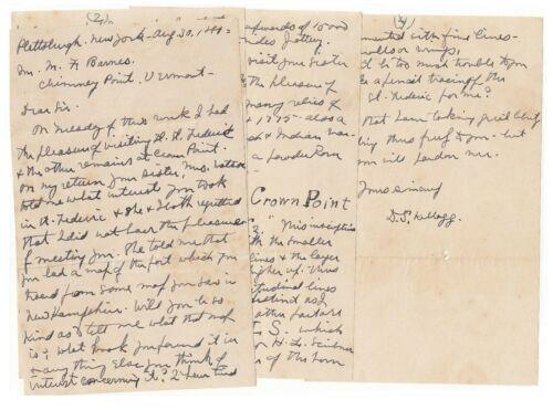 Dr D S Kellogg - Native American Relics expert, 1890 Plattsburgh NY Letter