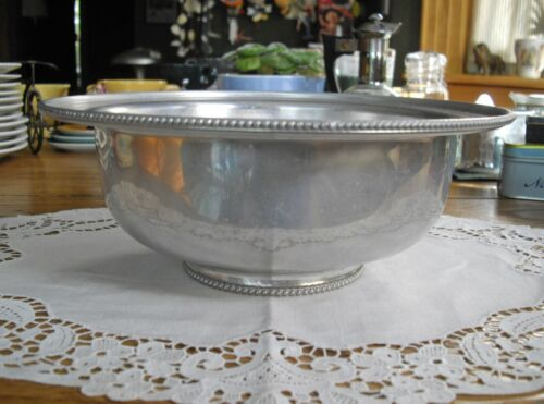 "Vintage  BW Buenilum Aluminum 9"" Beaded Serving Bowl ~"