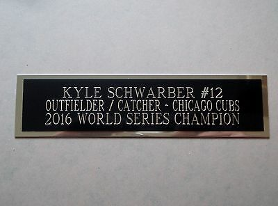Kyle Schwarber Cubs Engraved Nameplate For A Baseball Bat Display Case 1.5 x 8