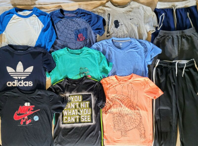 Lot of 12 Boys clothes 9 tops 3 Bottoms Size 7-8 Adidas Nike EUC SS