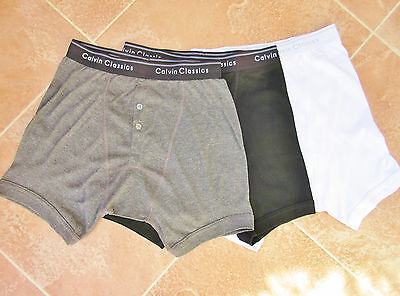Mens 3 Pack Cotton / Cotton Mix Button Fly Boxer Briefs - Size Small 30/32