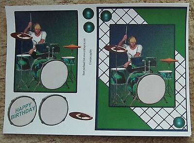 3-D Bogen Happy Birthday Drummer Männer Grußkartengestaltung ()