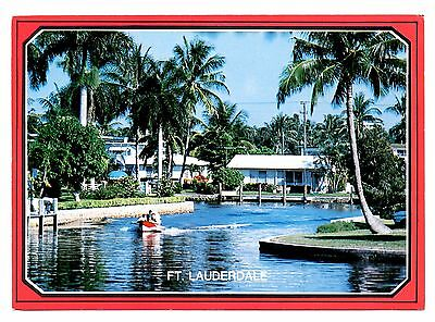 Fort Lauderdale Florida Postcard The Venice of America Palm Trees Boat Waterway