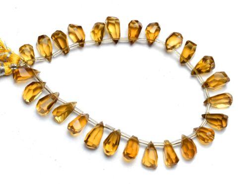 "Natural Gem Honey Quartz Nugget Cut Drop Shape Beads 8"" Jewelry Supplies 88Cts."