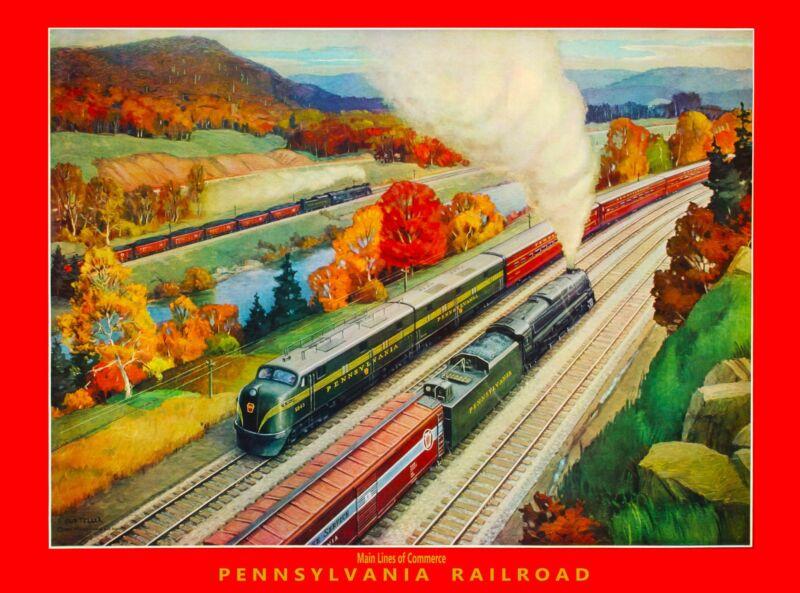 Pennsylvania Railroad Main United States America Travel Advertisement Poster