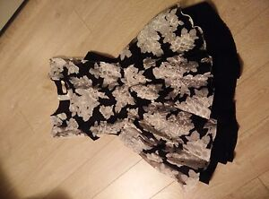 New Black pleated dress with grey flowers