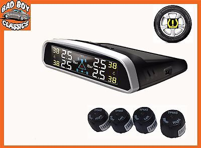 TPMS SOLAR Wireless Tyre Tire Pressure Monitor System External Sensors UNIVERSAL
