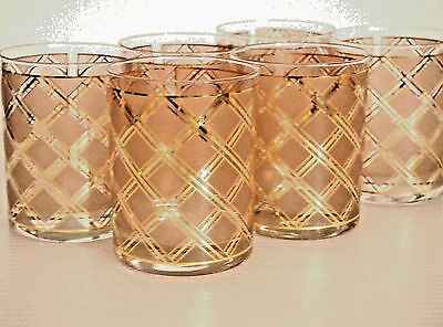 Barware Set of 6 Culver Double Old Fashioned Glasses/ Diamond Pattern & 22K Gold