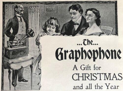 1898 GRAPHOPHONE Columbia Phonograph Vtg Xmas Print Ad~Victorian Family w/Butler