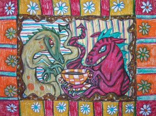 Dragon Collectible ACEO PRINT Folk Art Card 2.5 X 3.5 Signed Artist KSAMS Coffee