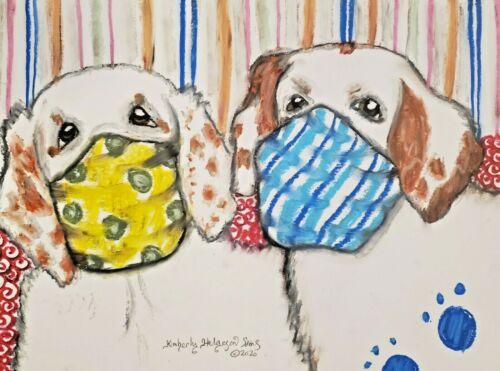 CLUMBER SPANIEL in Quarantine Masks dog art 9x12 pastel painting by artist KSams