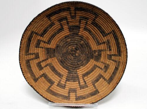 """Antique Arizona Pima Basketry Tray w/ Cog Motifs 12"""" x 2 1/2"""" c.1890"""