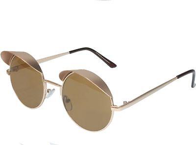 Mens Womens Visor Sunglasses Steampunk Small Metal Style Gold