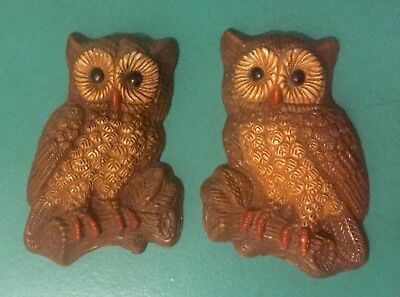 Vtg 1970's  Owl Owls Wall Hanging Plaques Pair 8