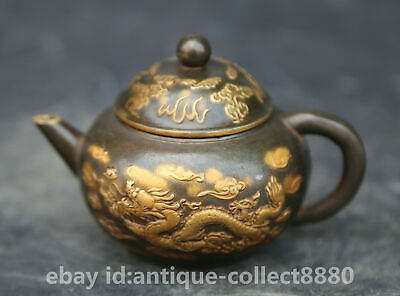 Chinese Antique Bronze  Zodiac Year Pig Bat Wealth Teapot