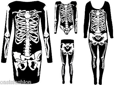 Ladies Halloween Skeleton Bones Dress Bodysuit Jumpsuit Leggings Plus Size 8-26](Skeleton Leggings Plus Size)