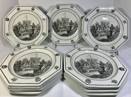 "Set Of 13 Vintage Italian Octagon Luncheon Plates - Panorama Play 8"" S.5052"
