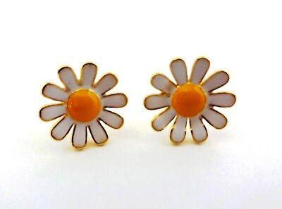 Small Butterfly Earrings - Daisy Earrings Small White Yellow Studs Brass Butterfly Fasteners Lauren Spencer