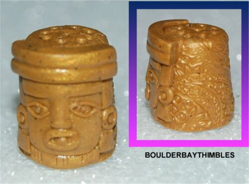 BOULDER BAY Thimble - #185 GOLD MEXICAN AZTECA GOD HEAD with EMBOSSED BACK