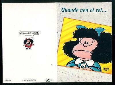 MAFALDA QUINO BIGLIETTO AUGURI GIFT CARD MEDIO STEVANI 1996 AMORE
