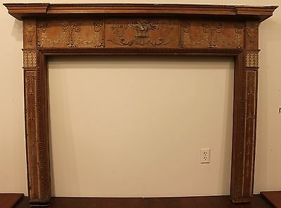 - 18th Century Adams Fireplace Mantel Carved Wood Basket, Urns, Floral Swags Etc.