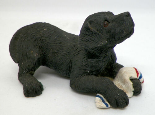 2003 Sandicast Black Lab with Sock Figurine, Sandra Brue