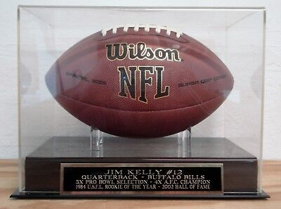 (Football Display Case With A Jim Kelly Buffalo Bills Engraved Nameplate)