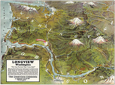 c1922 Map Longview Washington Wall Art Poster Print Vintage History Geneology