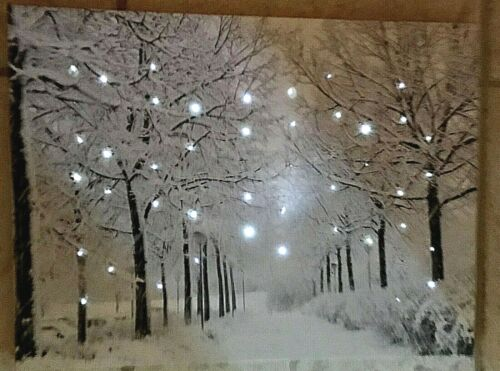 WINTER SNOWY TREE FILLED LANE LIGHTED CANVAS WALL ART - NEW