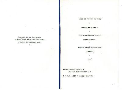 HOTEL TAMANACO INTERCONTINENTAL MENU MINISTRO INTERIORES 1956 CARACAS VENEZUELA