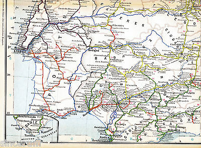 Portugal Lisboa Porto Gibraltar 1925 orig Eisenb.-Atlaskarte Coruña Gijon Madrid