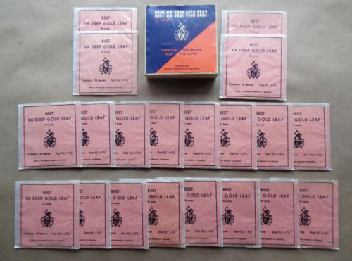 BEST XX DEEP GOLD LEAF 22 carat GERMAN vintage booklet of 25 leaves