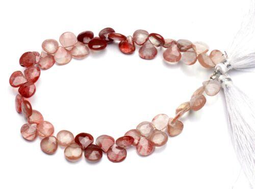"""Natural Andesine Labradorite Gem 7.5mm Size Faceted Heart Briolette Beads 8"""""""