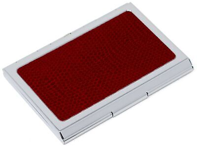 Slim Genuine Lizard Red Leather Business Card Holder