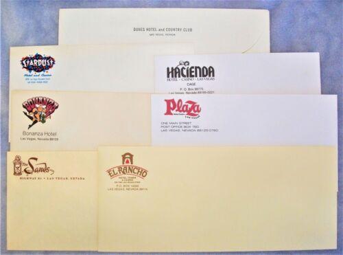 Vintage Lot of 7 Las Vegas Hotel Casino envelopes Dunes, Sands, Stardust ++++
