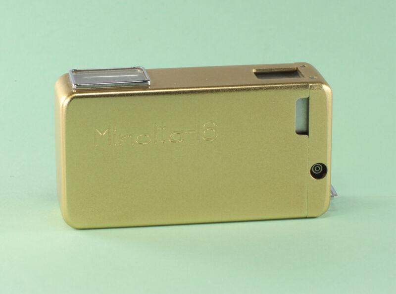 Vintage Minolta 16, Model I, in gold, Rokkor 3.5/25 mm
