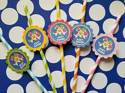 24 Baby shark straws party favors, goodie bag - Goodie Bag