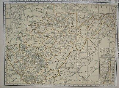 WEST VIRGINIA Map. 1926. Tan, Aqua. WV RAILROADS. Martinsburg, Parkersburg - $12.97