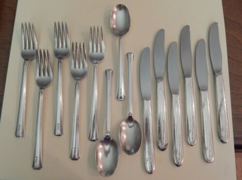 8 EAL Eastern Air Lines Silver Plated Engraved Forks/Spoons. 6AA Flagship Knives