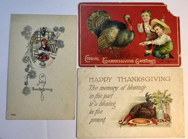 Thanksgiving Fall Postcards Lot Of 3 Turkey Pumpkin Vintage Clapsaddle