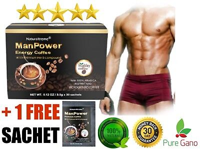 Puregano Manpower Thicker Fuller Harder Erections Muscle Building Coffee 31 Ct