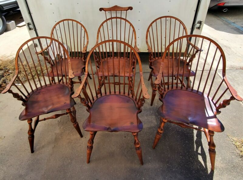 6 Beautiful D. R. Dimes Windsor Continuous Arm Chairs Including 1-Master Chair.