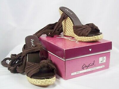 Qupid IMIES Brown Fabric Ankle Tie Wedge Sandals NIB Size  6 1/2, used for sale  Shipping to Nigeria