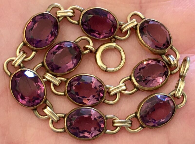 "Vintage ~ Art Deco ~ WRE ~ 12K Gold Filled ~ Oval Purple Glass  ~ 7.5"" Bracelet"