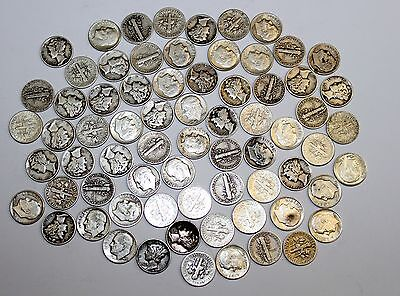 1940'S-1960'S LOT ROOSEVELT AND MERCURY SILVER DIMES
