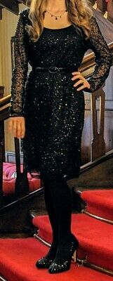 NEXT Black Sequin Dress UK 14 Sleeves Party Formal New Years & Christmas holiday