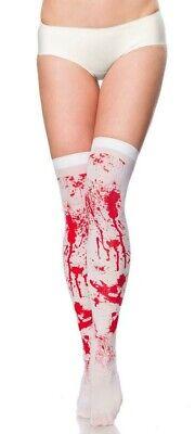 IAL 14374 Overknees Strümpfe Stockings Blut Spritzer weiß Blutig Halloween  XS-M